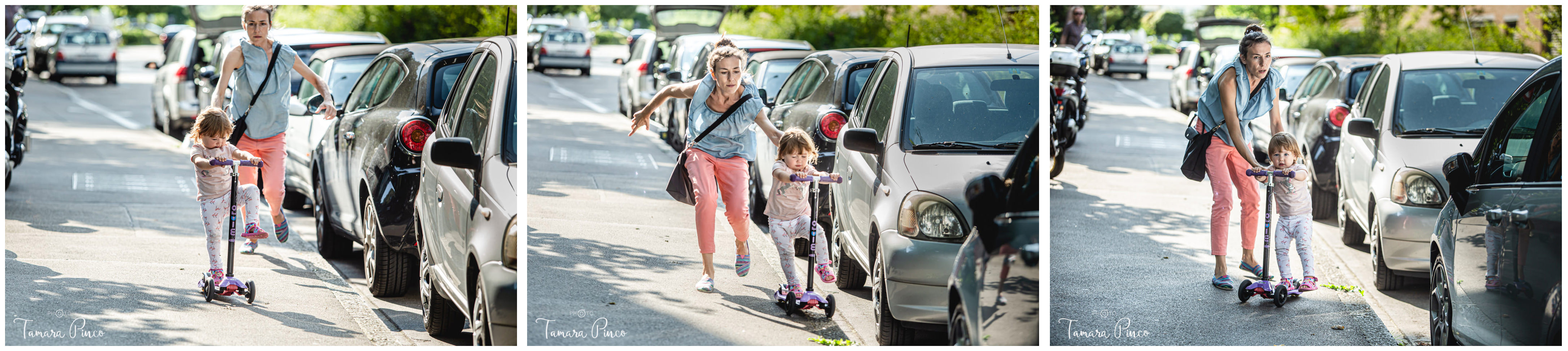 A mother runs after her little daughter who is riding a scooter and is close to fall